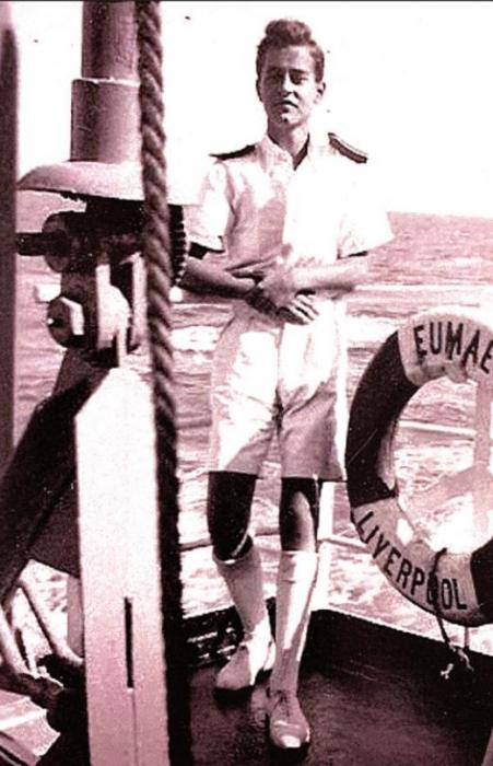 At the age of 17, Richard began serving as a midshipman on the MV Eumaeus, a former liberty ship built by the U.S. in World War II. Traveling at a speed of about 10 knots (11 mph) it sailed from Glasgow to Malaya, Hong Kong, Philippines, Indonesia, Borneo, Australia, Italy and then back to the United Kingdom. That marked Richard's first year at sea.