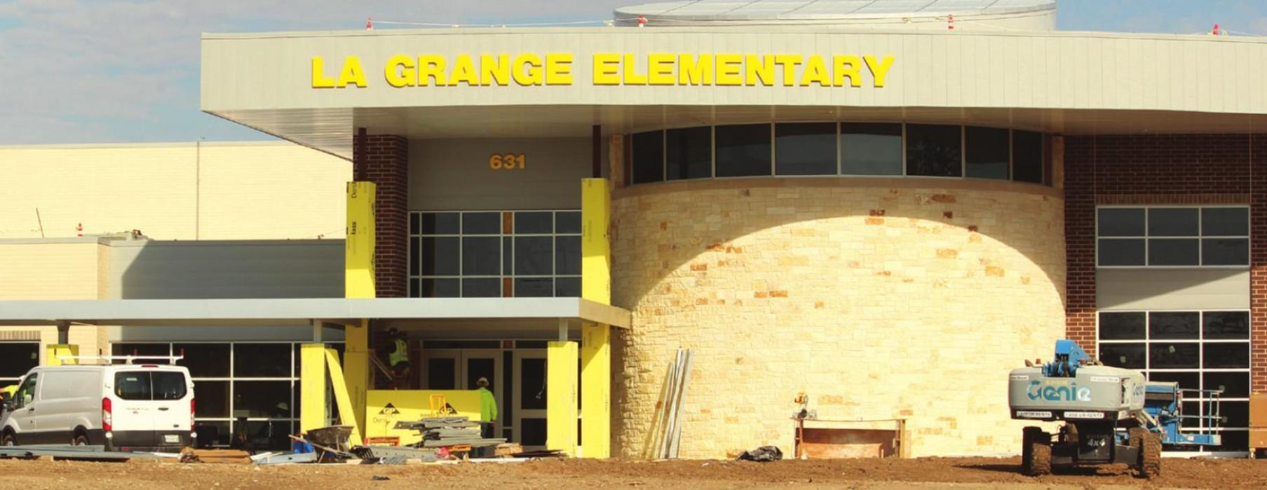 The new La Grange Elementary building is getting its final touches, including signage last week.