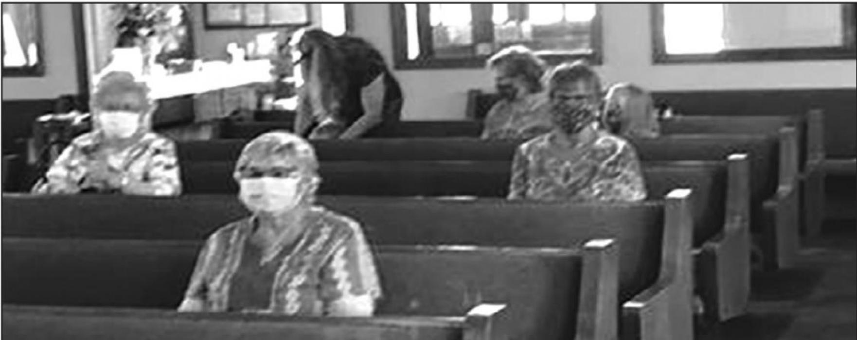 Pictured are some of the worshippers at Faith Lutheran Church in Weimar practicing social distancing, wearing face masks and involved people from a variety of ages (from young children to persons reaching 90 years of age).