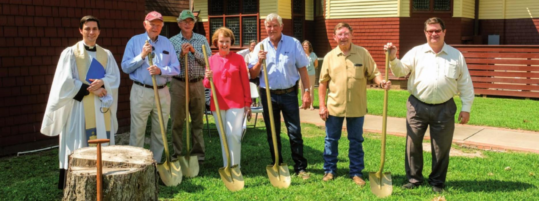 Members of the St. James Episcopal Church Construction Committee: (from left) Fr. Eric Hungerford, Mel Glasscock (chairman), James Cauble, Carol Helms, Joe Gaeke of Gaeke Construction, Chuck Gibson and Joe Jameson. Photo by Andy Behlen
