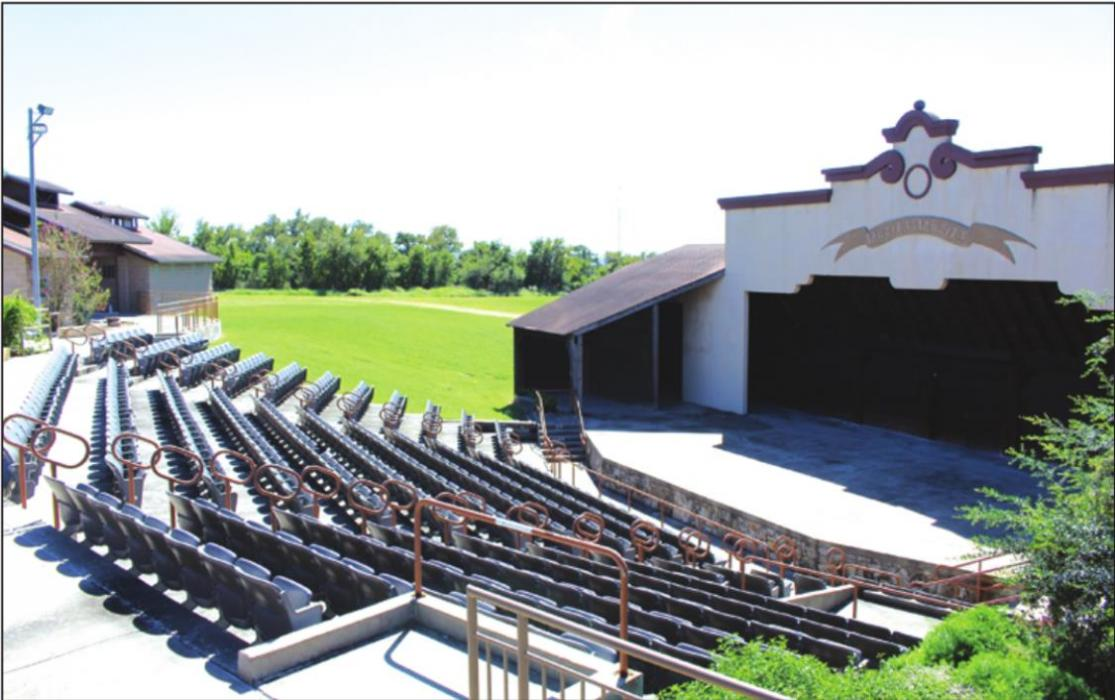 The aging roof above the stage and backstage area of the Sanford Schmid Amphitheater will be replaced thanks to a $10,000 grant from LCRA and the City of LG.